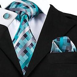 Set Hi-Tie de pañuelo y corbata de seda y de gemelos, con diseño de cuadros, para hombre Azul Teal
