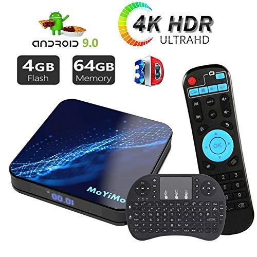 Android 9.0 TV Box Mit Mini Wireless Backlight Keyboard,Moyimo-M5 4GB RAM 64GB ROM Smart TV Player ARM 64 Bits Quad Core Processor, Unterstützt Bluetooth 4.0/ H.265/ WiFi/USB/HDMI
