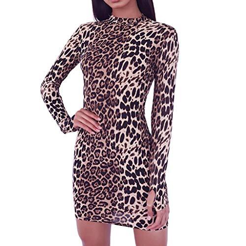 Yanhoo-Dress Frauen Leopard PersöNlichkeit Rundhals Langarm Finger Abdeckung Dress Sommer Frauen Taille Strumpfhosen Hip Rock RüSchen Mode A-Line Rock Schwarz