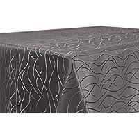 Tischdecke, FARBE wählbar, Streifen Damast Textil, Bügelfrei, Eckig 130x220 cm, Taupe