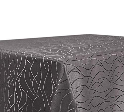 Tischdecke, FARBE wählbar, Streifen Damast Textil, Bügelfrei, Eckig 110x160 cm, Taupe - Taupe Damast