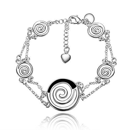 Kommunion Fußkettchen (amberma Stilvolle Schmuck Silber Armbänder Fußkettchen für Frauen, Geschenke für Mädchen FRIENDS)