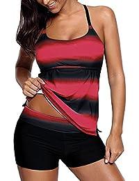 f08657e026b8be Socluer Donna Costumi da bagno due pezzi Tankini Top Stripe Stampa Costumi  da bagno con pantaloncini