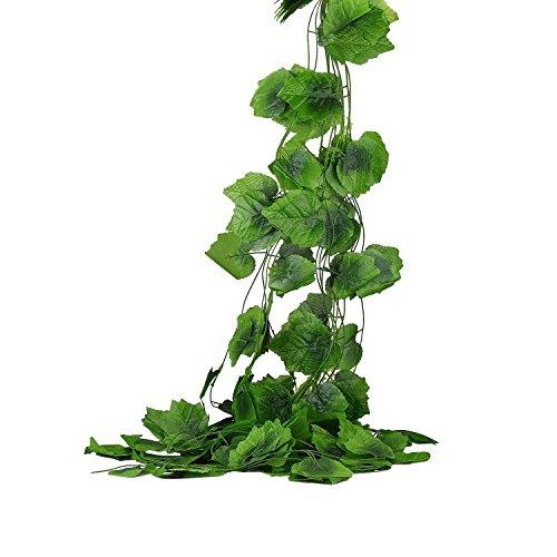 Syndecho 12 Stück Künstliche Grün Pflanzen Weinrebe Blätter,Grün Fake Traube Efeu Blätter...