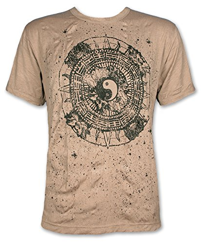 Pure Herren T-Shirt - Ying und Yang Buddhismus Meditation Yoga Esoterik Tao Hinduismus (Khaki Braun M)