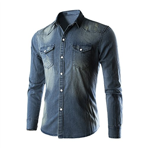 Camicie da uomo retro camicia di jeans camicetta da cowboy slim top sottili sottili,yanhoo camicia elastica di bambù fibra per uomo, slim fit, t-shirt manica lunga casual/formale