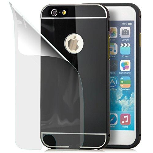 Saxonia iPhone 6 Plus / 6S Plus Hülle Aluminium Case + Displayschutzfolie Schutzhülle Alu Rahmen Bumper und Back Cover | Plexiglas Rückseite Anthrazit Schwarz
