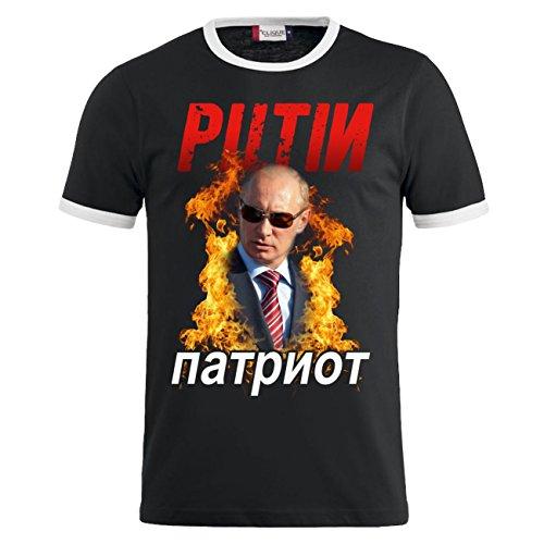 Männer und Herren T-Shirt Putin PATRIOT Schwarz/Weiß