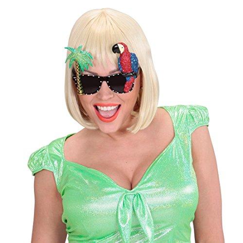 Preisvergleich Produktbild Papagei und Palme Brille Miami Spaßbrille Tropen Fun Brille Hawaii Motivbrille Holiday Scherzbrille Mottoparty Zubehör