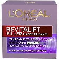 L'Oréal Paris Revitalift Filler Crema Viso Antirughe Rivolumizzante Giorno con Acido Ialuronico Concentrato, 50 ml