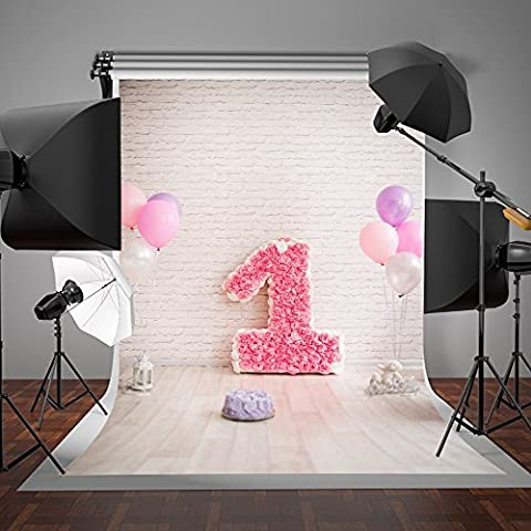 Photography Background Flowers Candle Pink Balloons White Brick Wall Photo Backdrop Newborn 5x7 Birthday Party Background Backdrop Kids