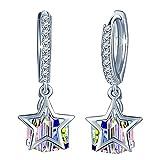 SIXLUO Damen Ohrringe aus 925 Sterling Silber mit Zirkonia Sterne Würfel Kristall Ohrhänger Creolen Geschenk für Mädchen/Frau/Freundin/Tochter