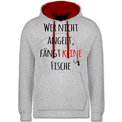 Angeln - Wer Nicht Angelt Fängt Keine Fische - Kontrast Hoodie Grau Meliert/Rot