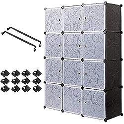 Armoire Penderie Portable Étagère de Rangement avec 12 Casiers Cubes de Stockage Modulaire en Plastique en métal Stable, Assemblage Facile pour Vêtements, Accessoires, Jouets,Noir et Blanc