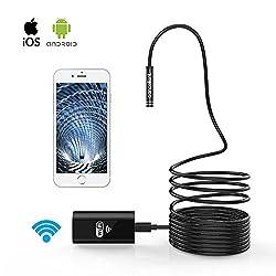 Pancellent Drahtlose Inspektionskamera WiFi Endoskop 2,0 Megapixel HD Borescope Starre Schlangenkabel (5 Meter) für iOS iPhone Android Samsung Smartphone (Aktualisiertes WiFi-Level)