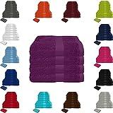 Handtuch Sets Frottier 500g/m2 in vielen Größen und Farben, sowie 10er Sparpack, 100% Baumwolle, 4er Pack Handtücher Lila