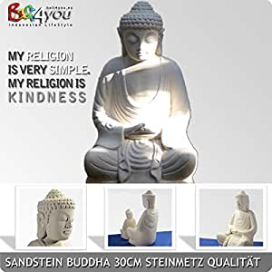 Bouddha Dhyani 30cm Bali Statue sculpture en grès fait à la main