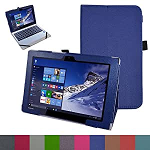 "Toshiba Satellite Click 10 Case,Mama Mouth PU Leather Folio Stand Cover for 10.1"" Toshiba Satellite Click 10 LX0W-C-104 LX5W-C-10C Detachable 2-in-1 Laptop/Tablet,Dark Blue"