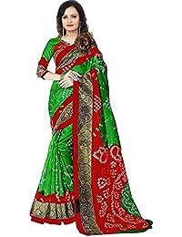 Krishna Enterprises Bhagalpuri Silk Green And Red Color Women Saree, Saree 1000 Rupees New Design Sarees, Saree...