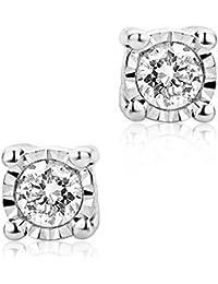 Diamada Femme or bicolore en diamant solitaire boucles d'oreilles 9kt (375) brillant 0.05cts