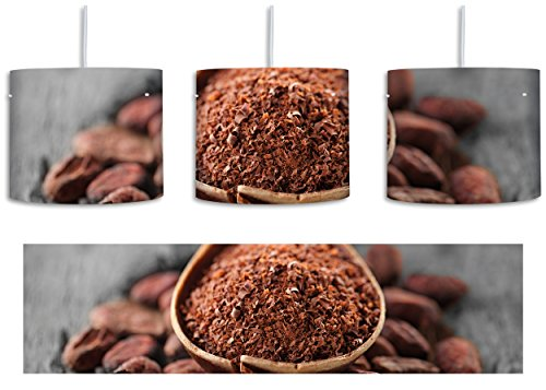 Kakaopulver und geröstete Kakaobohnen Schwarz/Weiß inkl. Lampenfassung E27, Lampe mit Motivdruck, tolle Deckenlampe, Hängelampe, Pendelleuchte - Durchmesser 30cm - Dekoration mit Licht ideal für Wohnzimmer, Kinderzimmer, Schlafzimmer