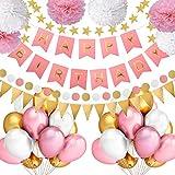 Grebarley Geburtstagsdeko,Geburtstag Dekoration für Mädchen,Happy Birthday Dekoration Kindergeburtstag Deko, 6 Papier Pom Poms, 30Latex Ballons, 1 Happy Birthday Banner,100 Klebepunkte (Rosa 2)