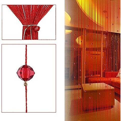 segurry 1pcs Filo decorativo perline tenda a pannello da parete frange stanza porta finestra persiane tenda divisorio Jabot pannelli sciarpe Forbici di livelli, rosso