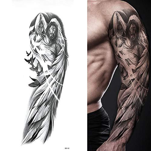 Tatuaggi manica manica grande braccio ali d'angelo piccione gesù impermeabile tatuaggi temporanei adesivo santità uomini tatuaggi totem cranio completo