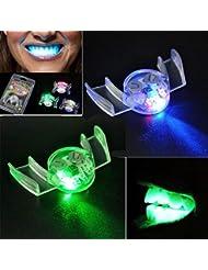 Preventosamente LED Intermitente Dientes, Creativo 2 Piezas Intermitente LED luz de Boca Brillante Dientes para Halloween Fiesta, Transparente