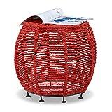 Relaxdays Tabouret en coton recyclé corde tricot coloré rond pouf repose-pieds cadre métal Shabby Chic HxlxP: 35 x 42 x 42 cm, rouge