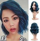 jkhhi Wigs Sexy Cosplay Posticci Capelli Corti Riccia Affascinante Obliqui Lace Front Wig Parrucchino Classico Parrucchini Blu Halloween Hairpiece Parrucca