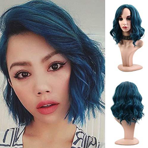 Muamaly Damen Perücke Kurz Blau Mode Cosplay Wellen Lockig Hair Synthetische Hitzebeständig Wig für Karneval Fasching Cosplay Party