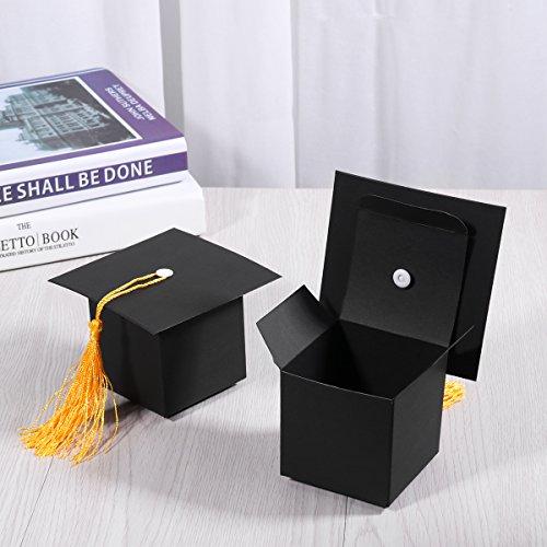 OULII 24Pcs Contenitore di regalo a forma di cappello di laurea Contenitore  di cioccolatini a forma di zucchero candito - Forniture per feste di laurea e472be52e4d1