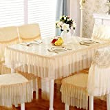 LQQ Tablecloth Tovaglie Grace Country Style Design Floreale con Coprisedia E Cuscino for Sedia, 2 Colori (Color : Beige, Size : Cushion+backrest)