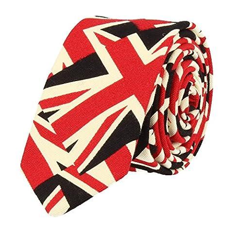 Snobbop Schmale Krawatte Clubkrawatte Union Jack Britische Flagge Schwarz Rot Weiss