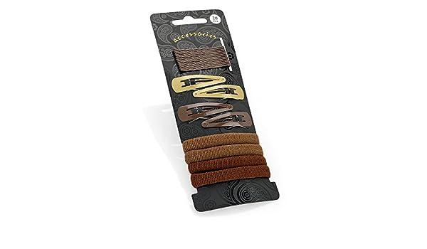 20 pc Black Hair Grip Snap Clip /& Elasticated Ponio Hair Accessory Set