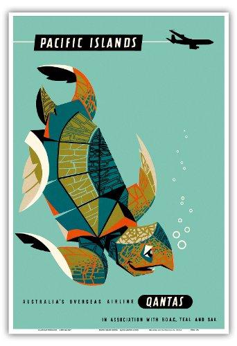 pazifik-inseln-qantas-airways-grune-meeresschildkrote-vintage-retro-hawaii-reise-plakat-poster-von-h