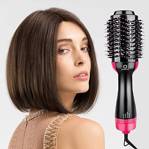 Brosse Soufflante Rotative, QARFEE One Step 4 en 1 Sèche-Cheveux Brosse Lissante Chauffante Electrique Multifonctionnels fer à friser Défrisant Bigoudi et Styler Brosse à Cheveux à ions Négatifs