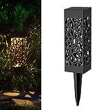 0.24W LED Gartenleuchte mit Erdspieß?Hohle Solar Rasen Licht?Metall Rasen Licht innen&außen für Hof Auffahrt Rasen Innenhof?Terrasse, Pflanzen (B)