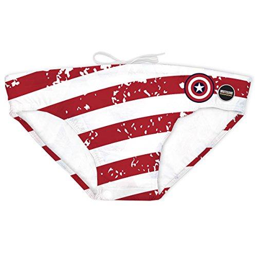 KiarenzaFD Whitesand Kostüm Pool Meer Captain America Slip Schild Grunge Herren, whitesand_capamerica-L-Multicolore, Mehrfarbig, ()