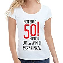 Bemode T-Shirt Donna Manica Corta in Cotone 50 Anni. 18 Anni con 32 f264917327b