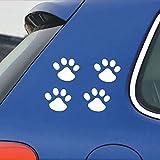 stickerbuy Bear Paw Pet Animal Funny Dog Footprints Emblem White Hood, Bumper, Sides Windows, Car Sticker