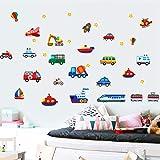 Suuyar Adesivi Murali Stickers Murali Bambini Rimovibili Decalcomanie D'Arte Casa Veicoli Auto Aerei Treni Bus Escavatore Bambini Boy Love