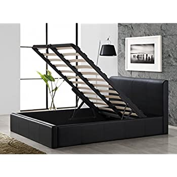 b6a5618c7c94 Cherry Tree Furniture Black Storage Ottoman Gas Lift Faux Leather  Upholstered Bed Frame Bedstead (4FT6 Double)