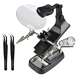 TIMESETL 3 X 4.5X Magnifier Station with LED Lights, 360° Rotating Helping Hand - Modeling Tweezers - Crocodile Clips - Iron Holder Free Standing for Welding Soldering DIY & Repair