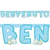 Givi Italia Banner Festone cartoncino BENVENUTO dolci nanne CELESTE