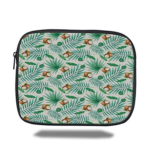 Tablet Bag for Ipad air 2/3/4/mini 9.7 inch,Watercolor,Coconut Fruit Exotic Nature Palm Tree Leaves Aloha Hawaii Polynesian Food,Green Pale Brown,3D Print -