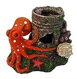 ORBIT OB-8821 Tintenfisch 11 cm, Aquarium Deko, Höhle, Fischhaus, Versteck für Fische, Aquariendekoration, Polyresin