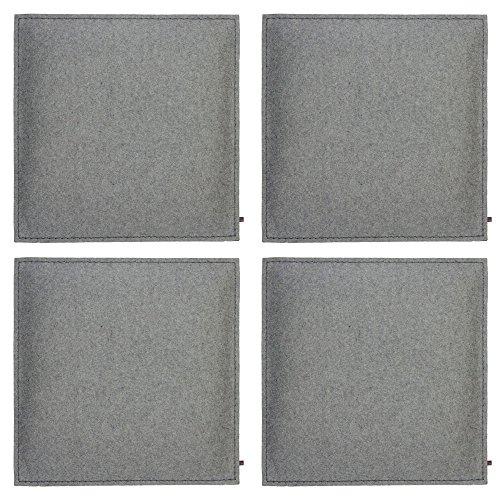 ebos Wollfilz Sitzkissen 4er-Set | 40x40cm, handgefertigt, 100% Wollfilz | Dünn & bequem | Hochwertiges Stuhlkissen, Sitzpolster mit Füllung | Schönes Stuhl-Polster, Filz-Kissen | Robustes Outdoor-Kissen, wasserabweisende Stuhl-Auflage (hellgrau) Outdoor Stuhl Kissen