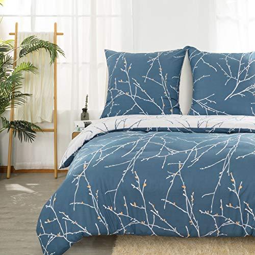 Bedsure Bettwäsche Navyblau& Kamel 155x220cm Bettbezug mit Zweige Muster, Super Weiche Hypoallergen Mikrofaser Bettwäsche 3-teilig (1 Bettbezug mit Reißverschluss + 2 Kissenbezüge 80x80cm) -